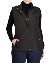 Lauren Ralph Lauren Plus Size Faux Leather Trim Quilted Vest