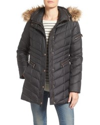 Marc new york by quilted down jacket with faux fur trim medium 757368
