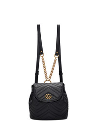 Gucci Black Mini Gg Marmont 20 Backpack