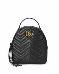 Gg marmont quilted leather backpack black medium 3729546