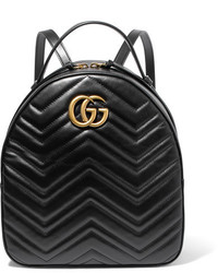 Gg marmont quilted leather backpack black medium 3947062