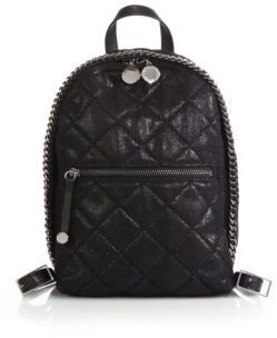 69363dc9d5 ... Black Quilted Leather Backpacks Stella McCartney Quilted Faux Leather  Mini Backpack ...