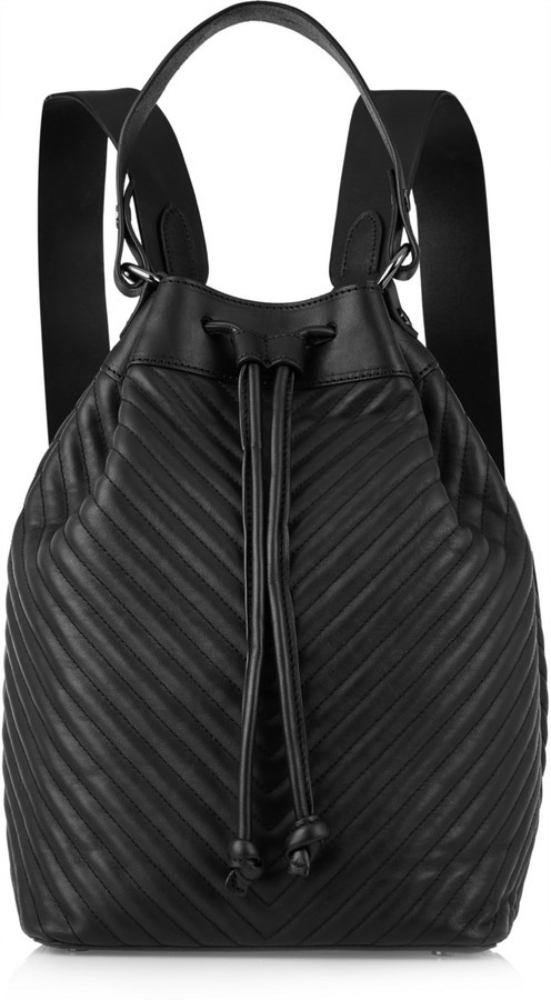 ... Black Quilted Leather Backpacks Iris and Ink Ruby Chevron Quilted  Leather Backpack ... 042e457ba4a59