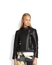 Acne Studios Moi Quilted Panel Leather Biker Jacket Black Noir