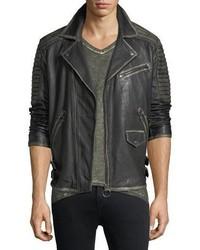 Aged leather biker jacket medium 6793170