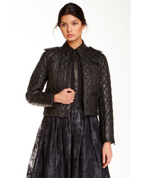 Alice + Olivia Siri Genuine Leather Quilted Studded Biker Jacket