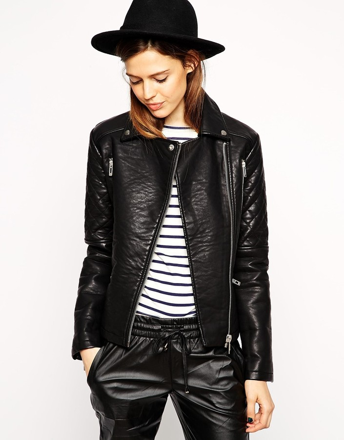 Asos ASOS COLLECTION ASOS Textured Biker Jacket with Quilt Detail ... : asos quilted leather jacket - Adamdwight.com