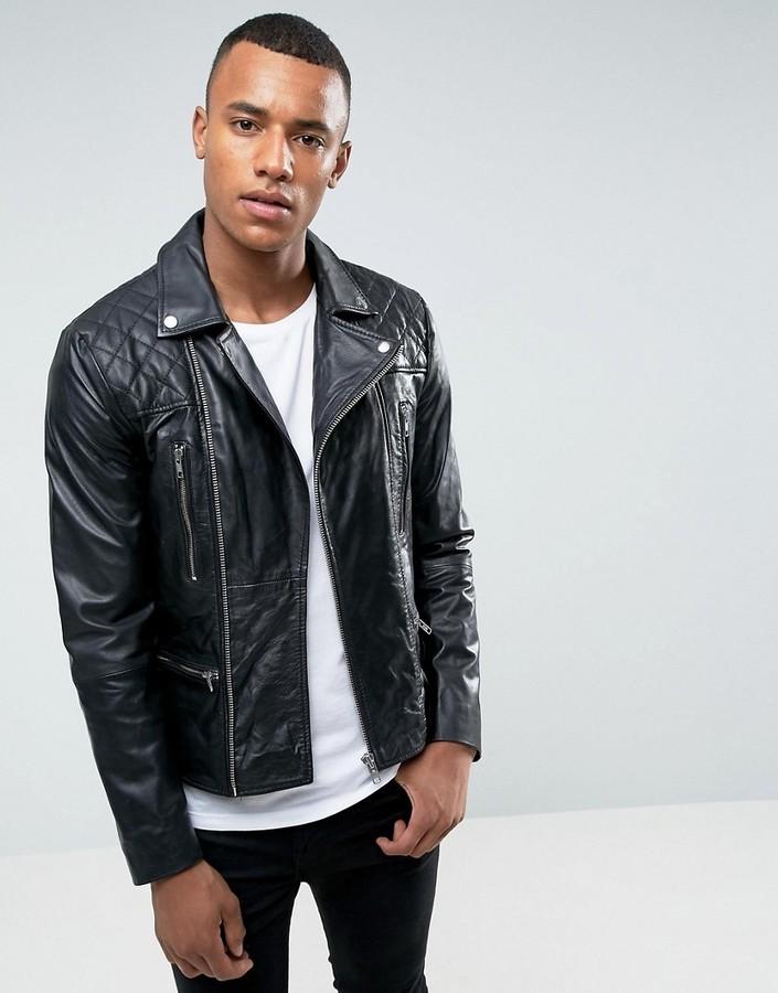 283e409f9 $158, Barneys Originals Barneys Premium Leather Biker Jacket