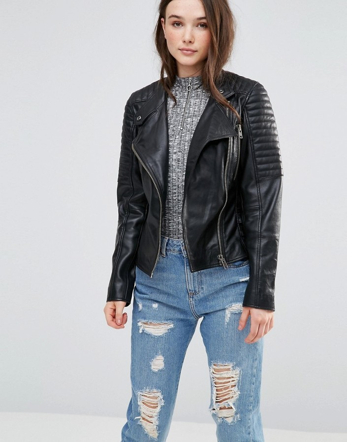 c196712cb $135, Barneys Originals Leather Biker Jacket With Quilting And Buckle Detail