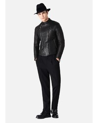 Emporio Armani Biker Jacket In Quilted Glove Leather
