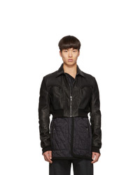 Rick Owens Black Leather Babel Liner Jacket