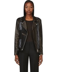 Black quilted biker jacket medium 101163