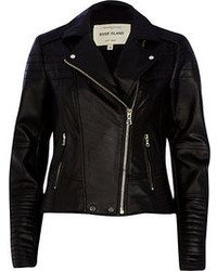 River Island Black Quilted Panel Leather Biker Jacket