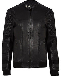 River Island Black Quilted Panel Leather Look Biker Jacket