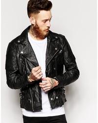 Asos Brand Asymmetric Leather Biker Jacket In Black