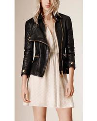 Burberry Diamond Quilt Detail Leather Biker Jacket