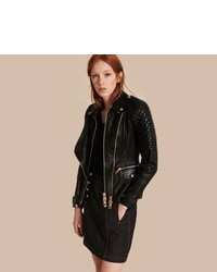 Burberry Diamond Quilted Detail Lambskin Biker Jacket