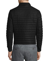 Moncler Casteu Quilted Leather Moto Jacket Black