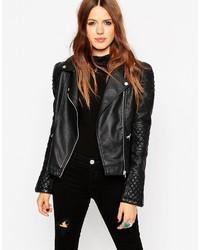 Asos Collection Biker Jacket With Structured Shoulder