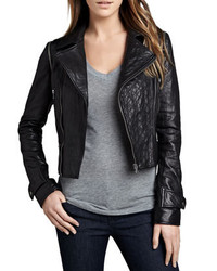 Cusp by Neiman Marcus Quilted Panel Convertible Leather Jacket