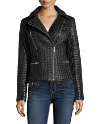 Dawn Levy 2 Asymmetric Zip Quilted Leather Moto Jacket Black