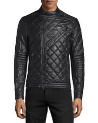 Debise quilted leather moto jacket black medium 594414