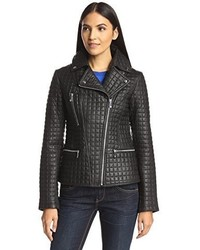 Dl2 Long Sleeve Quilted Leather Moto Jacket