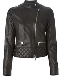 Eleventy Quilted Detail Biker Jacket
