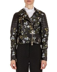 Erdem Frazey Floral Embroidered Leather Biker Jacket Blackmulti