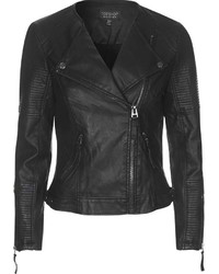 Topshop Faux Leather Quilted Detail Biker Jacket