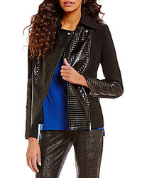 Jones New York Faux Patent Quilted Leather Patch Notch Collar Moto Jacket