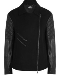 DKNY Felt And Leather Biker Jacket