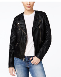 GUESS Geonna Quilted Faux Leather Moto Jacket
