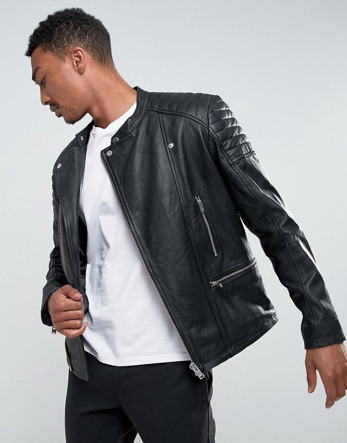 09c1d8c17 $395, Selected Homme Leather Biker Jacket