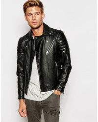 Selected Homme Leather Biker Jacket With Asymmetric Zip