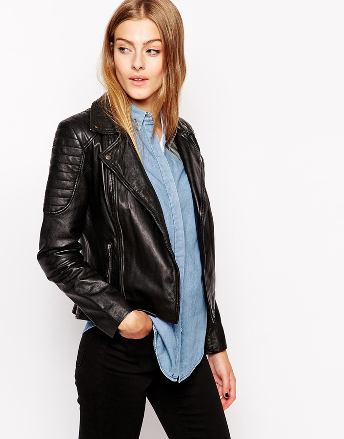 Barneys Gripey Leather Biker Jacket With Quilted Shoulder Detail ... : faux quilted leather jacket - Adamdwight.com