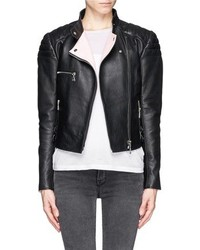 Nobrand Leather Cropped Biker Jacket