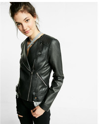 Express Leather Quilted Collarless Moto Jacket