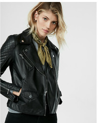 Express Leather Quilted Moto Jacket