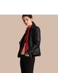 Burberry Lived In Lambskin Biker Jacket With Detachable Warmer