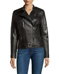 Marc By Andrew Marc New York M Quilted Leather Moto Jacket Black