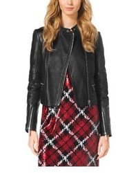 Michael Kors Michl Kors Quilted Leather Paneled Moto Jacket