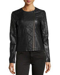 Neiman Marcus Faux Leather Quiltedstudded Jacket Black