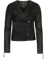 Petite Quilted Faux Leather Biker