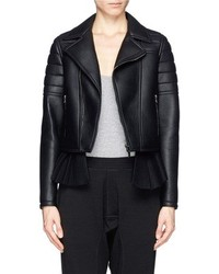 Nobrand Pleat Felt Peplum Leather Biker Jacket