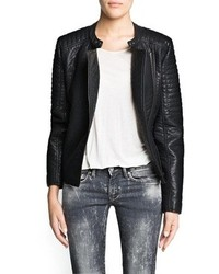 Mango Quilted Appliqu Biker Jacket