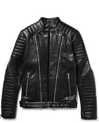 Balmain Quilted Grained Leather Biker Jacket