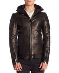 Diesel Black Gold Quilted Lambskin Leather Hooded Biker Jacket