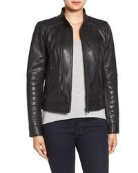Bernardo Quilted Leather Moto Jacket