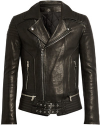 Balmain Quilted Panel Leather Biker Jacket